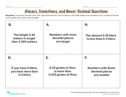 Always, Sometimes, and Never: Decimal Questions