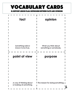 Vocabulary Cards: Distinguish Between Facts and Opinions