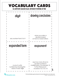 Vocabulary Cards: Divide by Powers of Ten