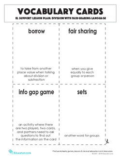 Vocabulary Cards: Division with Fair-Sharing Language