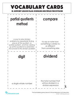 Vocabulary Cards: Doubling Multiples for Division