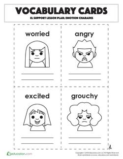 Vocabulary Cards: Emotion Charades