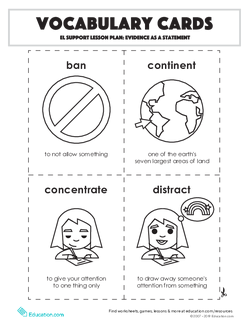 Vocabulary Cards: Evidence as a Statement