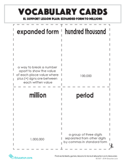 Vocabulary Cards: Expanded Form to Millions
