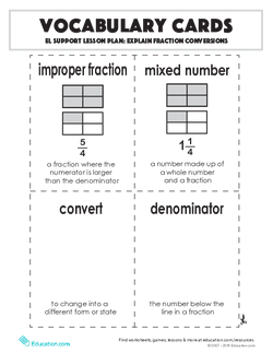 Vocabulary Cards: Explain Fraction Conversions