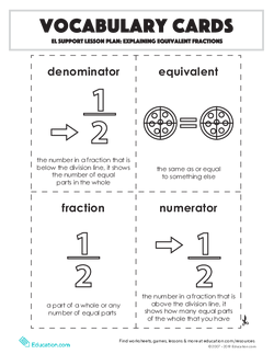 Vocabulary Cards: Explaining Equivalent Fractions