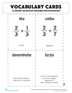 Vocabulary Cards: Explaining Fraction Addition