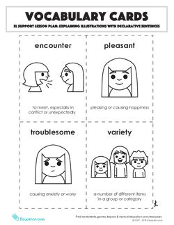 Vocabulary Cards: Explaining Illustrations with Declarative Sentences