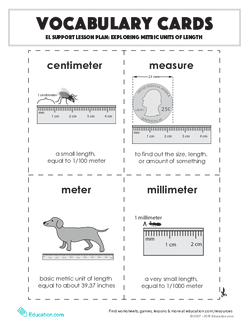 Vocabulary Cards: Exploring Metric Units of Length