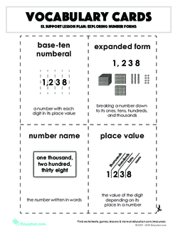 Vocabulary Cards: Exploring Number Forms