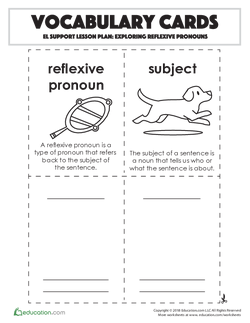 Vocabulary Cards: Exploring Reflexive Pronouns