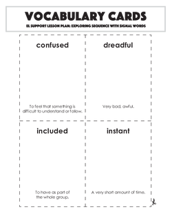 Vocabulary Cards: Exploring Sequence with Signal Words