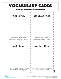 Vocabulary Cards: Fact Family Houses