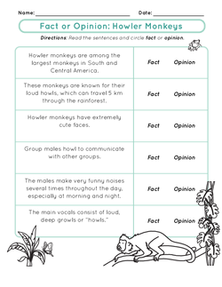 Fact or Opinion: Howler Monkeys