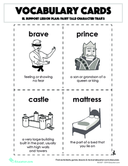 Vocabulary Cards: Fairy Tale Character Traits