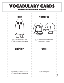 Vocabulary Cards: Retelling Stories