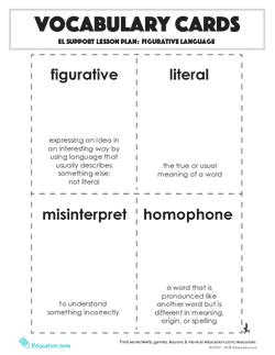 Vocabulary Cards: Figurative Language