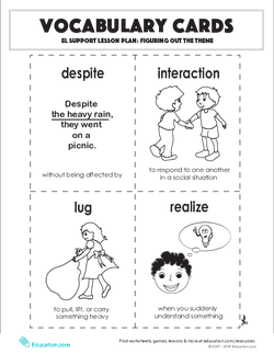 Vocabulary Cards: Figuring Out the Theme