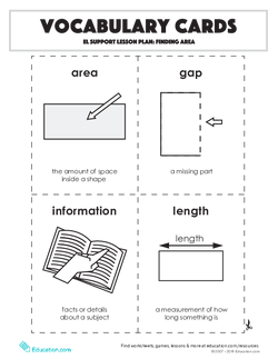 Vocabulary Cards: Finding Area