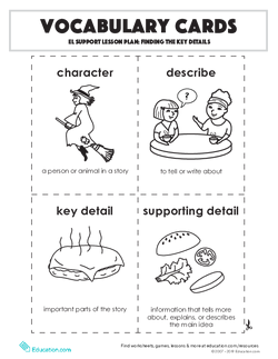 Vocabulary Cards: Finding the Key Details