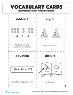 Vocabulary Cards: Fishy Subtraction Stories