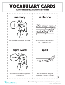 Vocabulary Cards: Fun with Sight Words