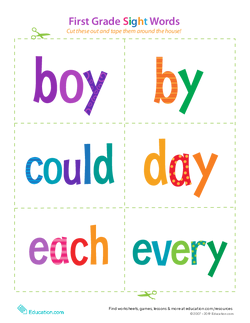 First Grade Sight Words: Boy to Every