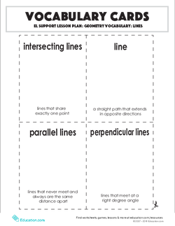 Vocabulary Cards: Geometry Vocabulary: Lines