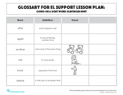 Glossary: Going on a Sight Word Scavenger Hunt