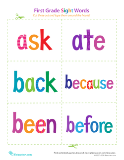 First Grade Sight Words: Ask to Before