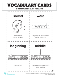 Vocabulary Cards: Hands on Reading