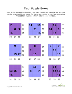 Addition Math Puzzles #7