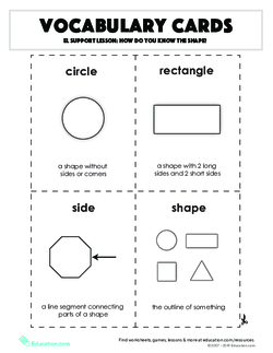 Vocabulary Cards: EL Support Lesson: How Do You Know the Shape?