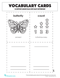 Vocabulary Cards: How Many Butterflies?