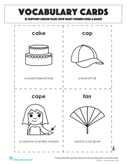 Vocabulary Cards: EL Support Lesson: How Many Sounds Does A Make?