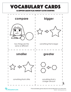 Vocabulary Cards: Hungry Gator Counting