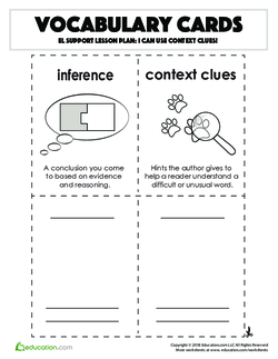 Vocabulary Cards: I Can Use Context Clues!