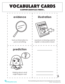 Vocabulary Cards: EL Support Lesson: I Predict...