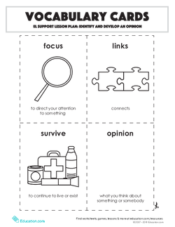 Vocabulary Cards: Identify and Develop an Opinion
