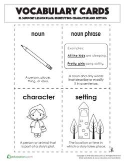 Vocabulary Cards: Identifying Character and Setting