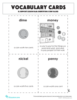 Vocabulary Cards: Identifying Coin Values