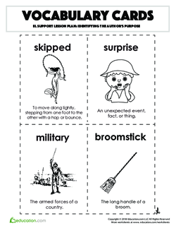 Vocabulary Cards: Identifying the Author