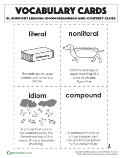 Vocabulary Cards: Idiom Meanings and Context Clues