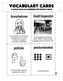 Vocabulary Cards: Inferences and Quotes as Proof