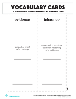 Vocabulary Cards: Inferences with Sentence Stems