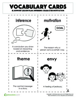 Vocabulary Cards: Inferring Character Motivation