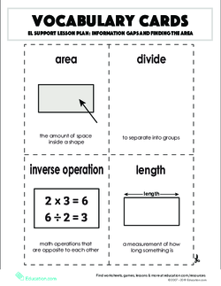 Vocabulary Cards: Information Gaps and Finding the Area