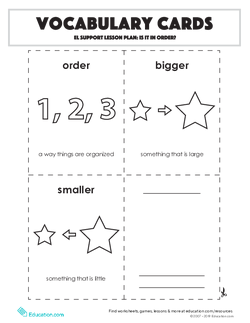Vocabulary Cards: Is It in Order?