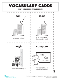Vocabulary Cards: EL Support Lesson: Is It Tall Or Short?