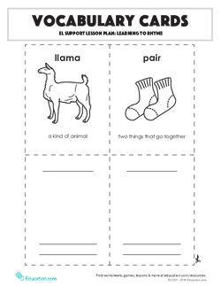 Vocabulary Cards: EL Support Lesson: Learning To Rhyme